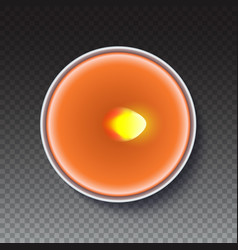 Realistic round candle in a metal case isolated on vector
