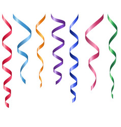 set of decorative serpentines colorful ribbons vector image vector image