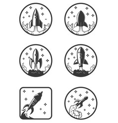 Set of the rocket launch icons design elements vector