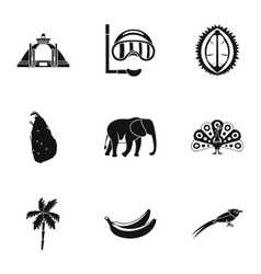 Sri lanka icons set simple style vector