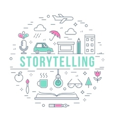 Storytelling and creative process concept line vector