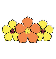three sakura flower decoration natural vector image