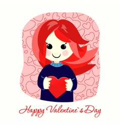 Valentines Day postcard with red girl vector image
