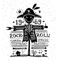 vintage grunge label with scarecrow vector image vector image