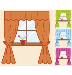 window with curtain and flower in pot vector image vector image