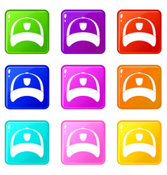 winter hat icons 9 set vector image vector image