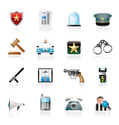 police law and security icons vector image