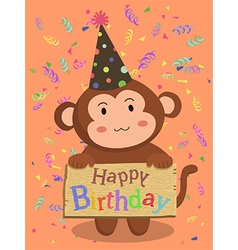 Birthday monkey cartoon vector