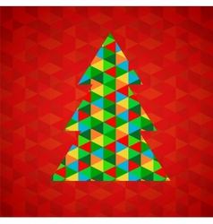 Abstract christmas tree with red background vector