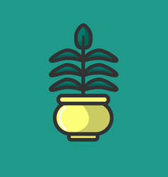 Green plant growing in pot isolated on white logo vector