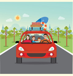 Happy family driving in red car on weekend holiday vector