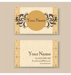 vintage business card yellow vector image