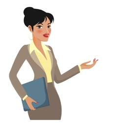 Businesswoman cartoon making presentations vector