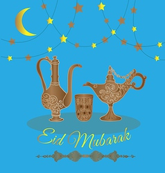 Eid mubarak with teapot and stars vector