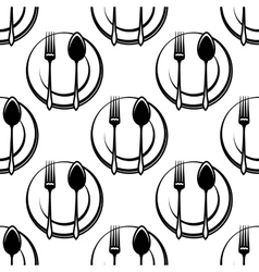 Cutlery and dishware seamless pattern vector