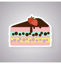 Cake with raspberry flat icon vector