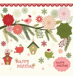 Christmas bird flora set vector