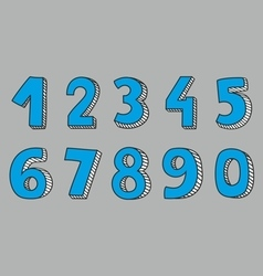 Hand drawn blue numbers vector