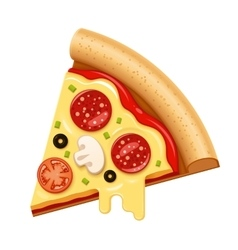Hot pizza slice with sticky cheese and vector