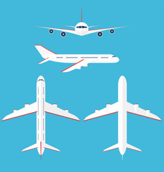 airplane set in the sky commercial airplane in vector image vector image