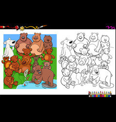bears characters group coloring book vector image