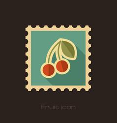 Cherry flat stamp fruit vector