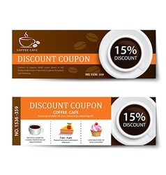 Coffee coupon discount template design vector