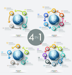 collection of 4 creative infographic design vector image