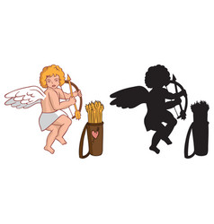 Cupid with a quiver and silhouette vector