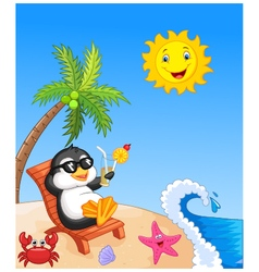 Cute penguin sitting on beach chair vector