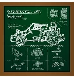 Doodle futuristic car scheme on blackboard vector