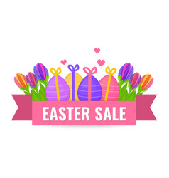 easter sale banner with beautiful colorful spring vector image