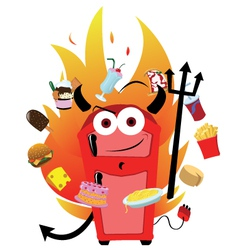 evil fridge temptation vector image vector image