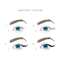 Eye make up tutorial how to apply eyeliner vector