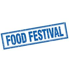 Food festival blue grunge square stamp on white vector