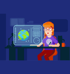 girl designer flat working vector image vector image