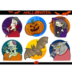 Halloween Cartoon Themes Set vector image