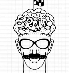 Hand drawn hipeter head with crossed checkered vector