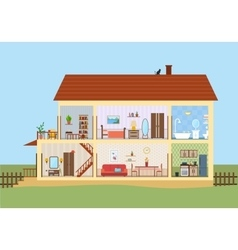 House in cut Detailed modern house interior vector image vector image