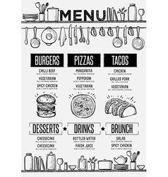 Menu restaurant food template placemat vector
