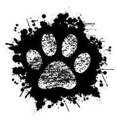 Paw print-ink-background vector