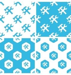 Repair tools patterns set vector image