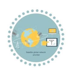 Satellite Global Network Provider Icon Flat vector image