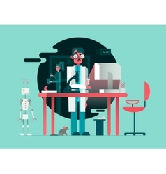 Scientist in lab room vector