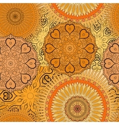 Seamless yellow pattern with oriental mandalas vector image vector image