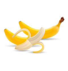 set of bananas of half peeled banana vector image vector image