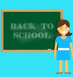 Teacher welcomes students back to school vector image