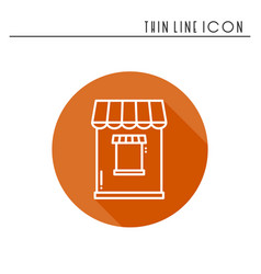 Thin line icons set cashbox ticket window food vector