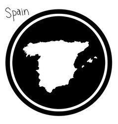 White map of spain on black circle vector