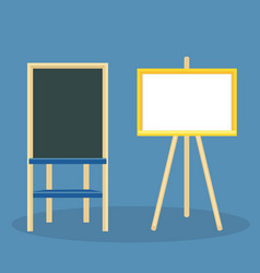 Wooden easel with blank canvas board for drawing vector